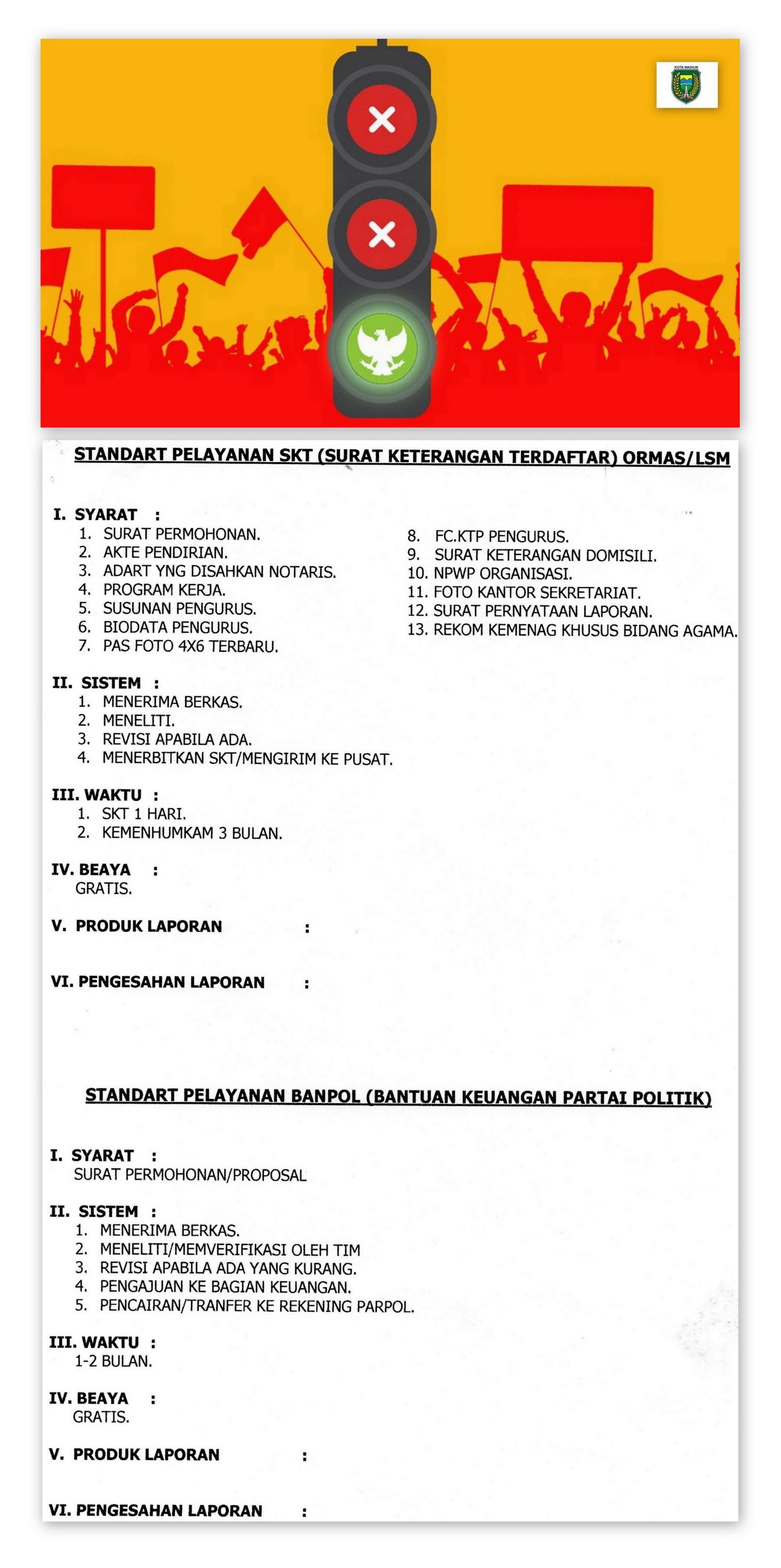 STANDAR PELAYANAN SKT (SURAT KETERANGAN TERDAFTAR) ORMAS/LSM
