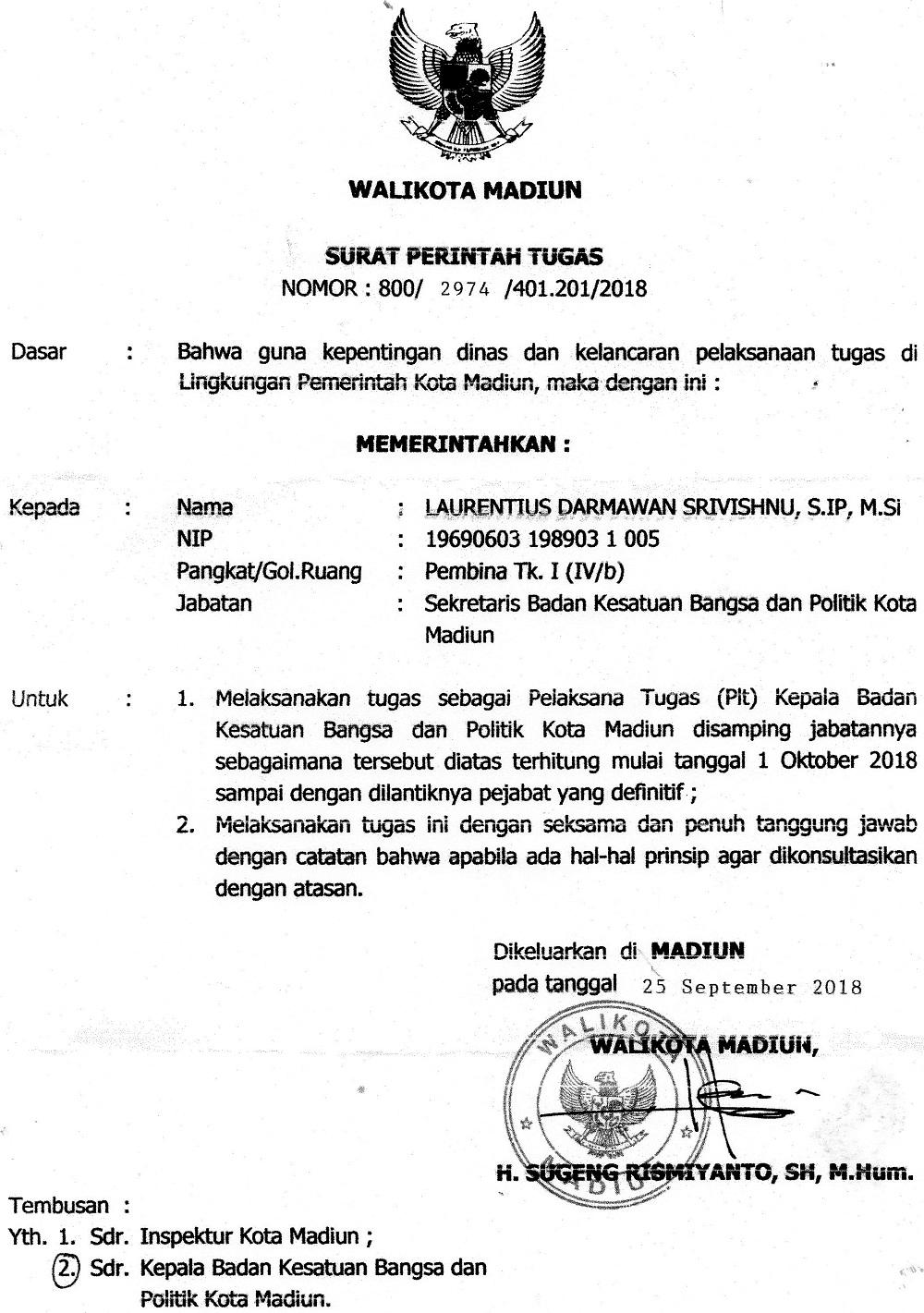 Surat Perintah Tugas Walikota Madiun Tentang Penunjukan Sekretaris