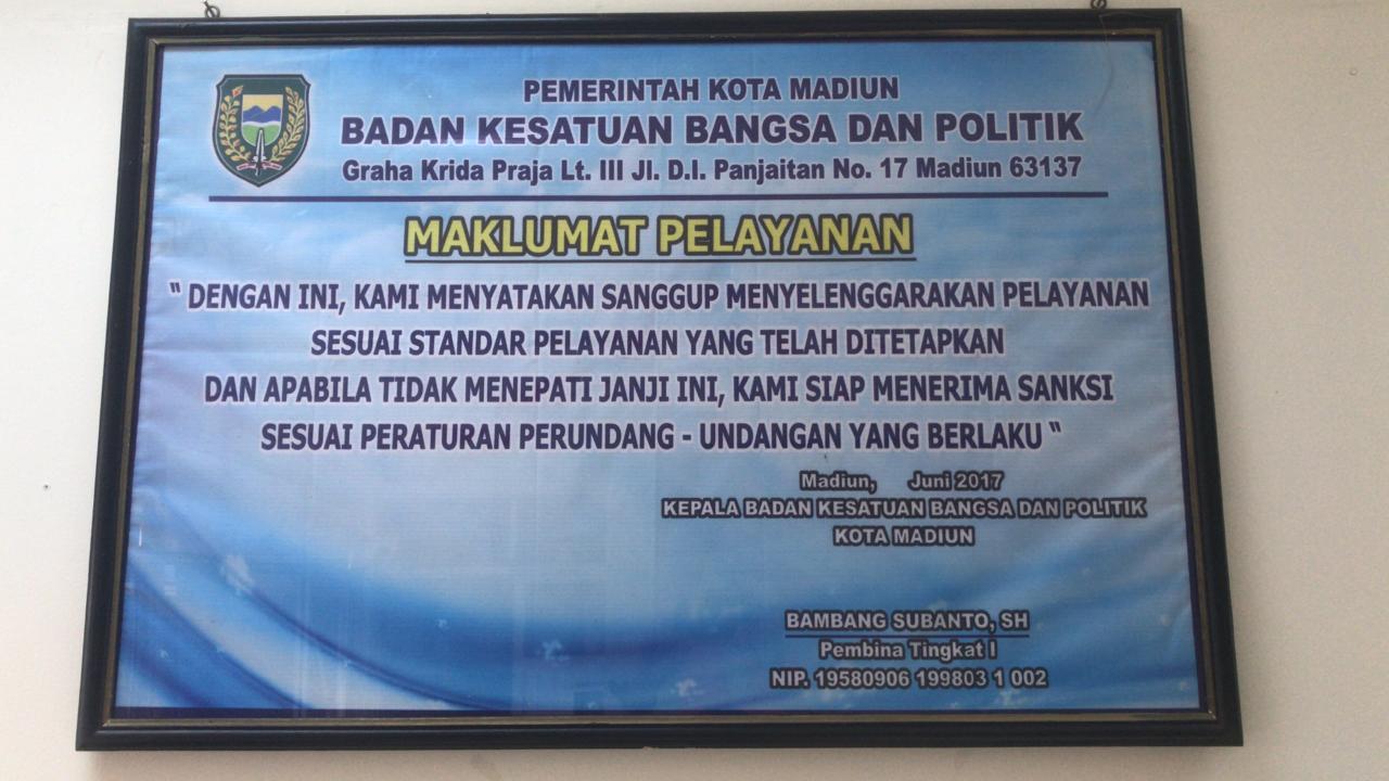 Maklumat Pelayanan Bakesbangpol Kota Madiun